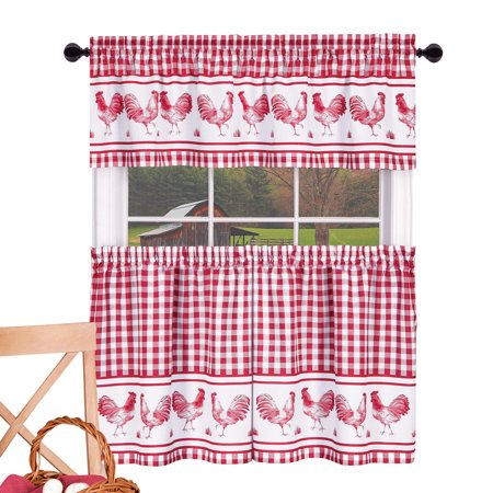 Gingham Country Kitchen Curtains Cafe Tier 3pc. Set - Barnyard Rooster