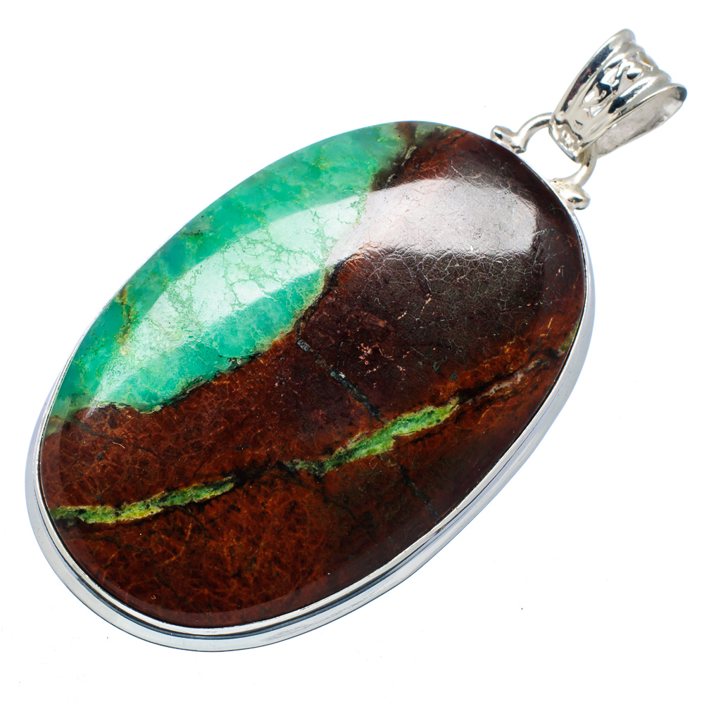 "Ana Silver Co Huge Boulder Chrysoprase 925 Sterling Silver Pendant 2 1 2"" PD546887 by Ana Silver Co."