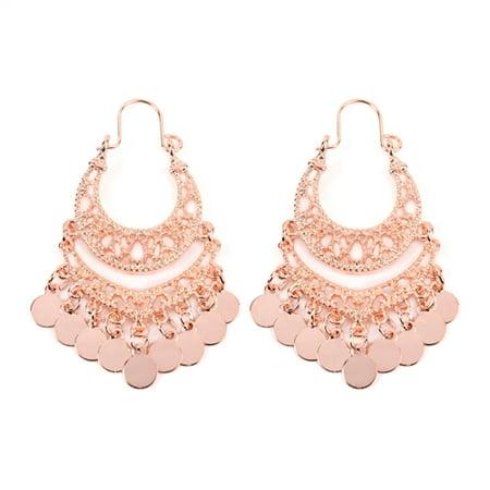 Riah Fashion Bohemian Chandelier Coin Dangle Earrings - Gypsy Lightweight Filigree Disc Charm Tassel Ethnic Hoops