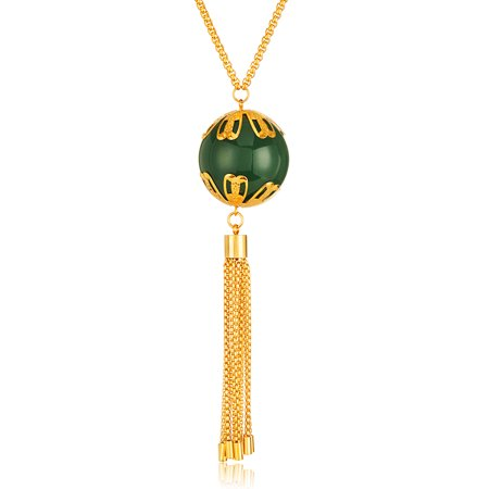 Gold Plated Faux Jade Tassel Stainless Steel Necklace (3mm) - 28