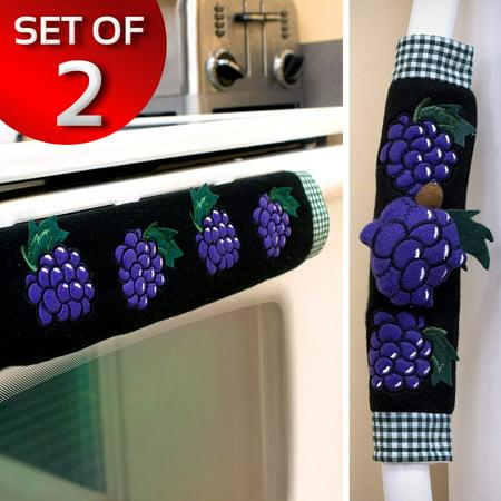 Kitchen Appliance Oven Refridgerator Handle Door Covers - Set of 2 - - Grape 2 Handle