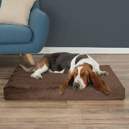 Orthopedic Dog Bed - Pet Bed Egg Crate and Memory Foam with Washable Cover 37x24x4 - Brown
