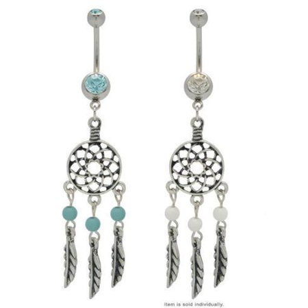 Dream Catcher Belly Button Ring Dangle Feathers -