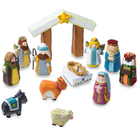 12-Piece Hand Carved Wooden Children's First Christmas Nativity Set](Snoopy Nativity Set)