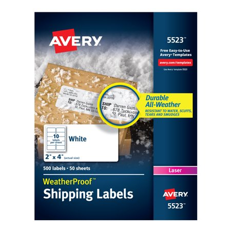 Avery Weatherproof Laser Shipping Labels, 2 x 4, 500/Pack (5523) Avery Dennison Laser Labels