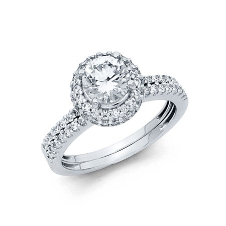 Bridal Duo Band (14k White Italian Solid Gold Round Flower CZ Halo Bridal Engagement Wedding Duo Sets Band & Ring Size 7 Available All Sizes )