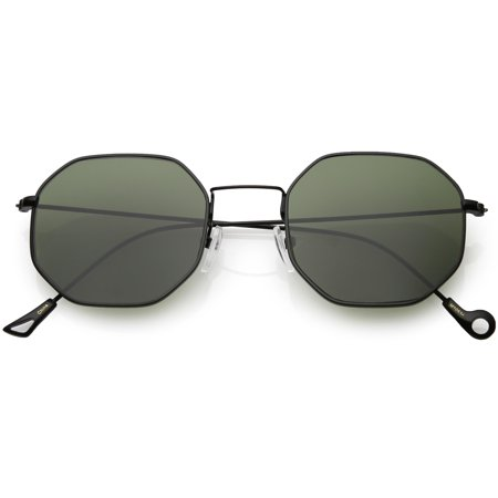 0028be63c31 sunglass.la - Geometric Octagon Sunglasses Ultra Slim Metal Neutral Colored  Flat Lens 49mm (Black   Green) - Walmart.com