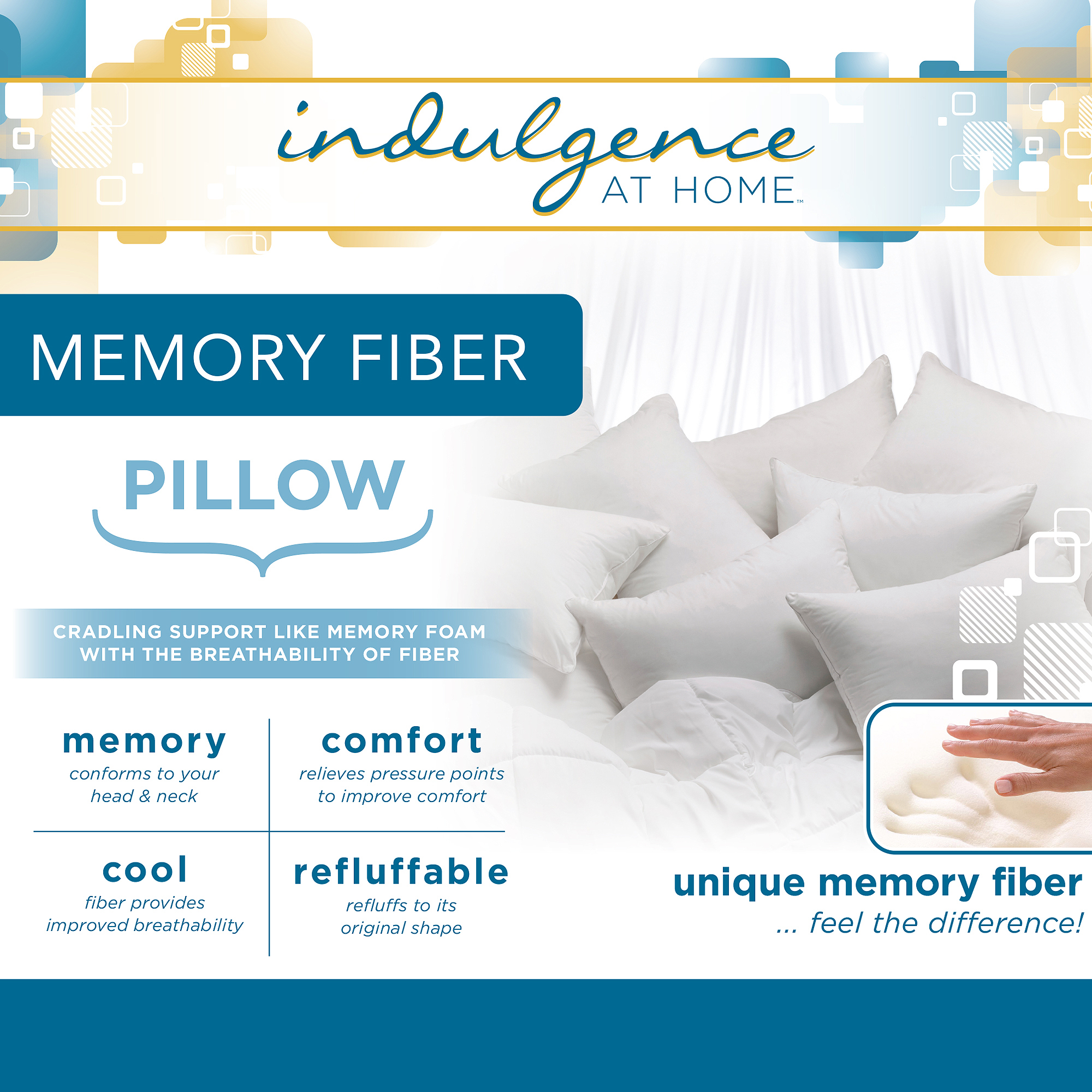 Indulgence at Home Memory Fiber Pillow, Standard/Queen (20 in x 28 in)