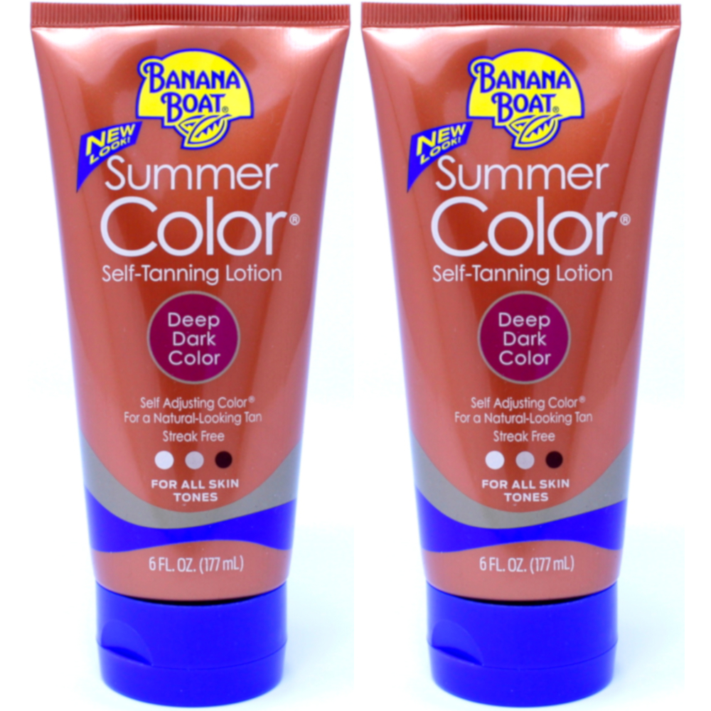 2 Pack Banana Boat Summer Color Self-Tanning Lotion, Deep Dark Color 6oz Each