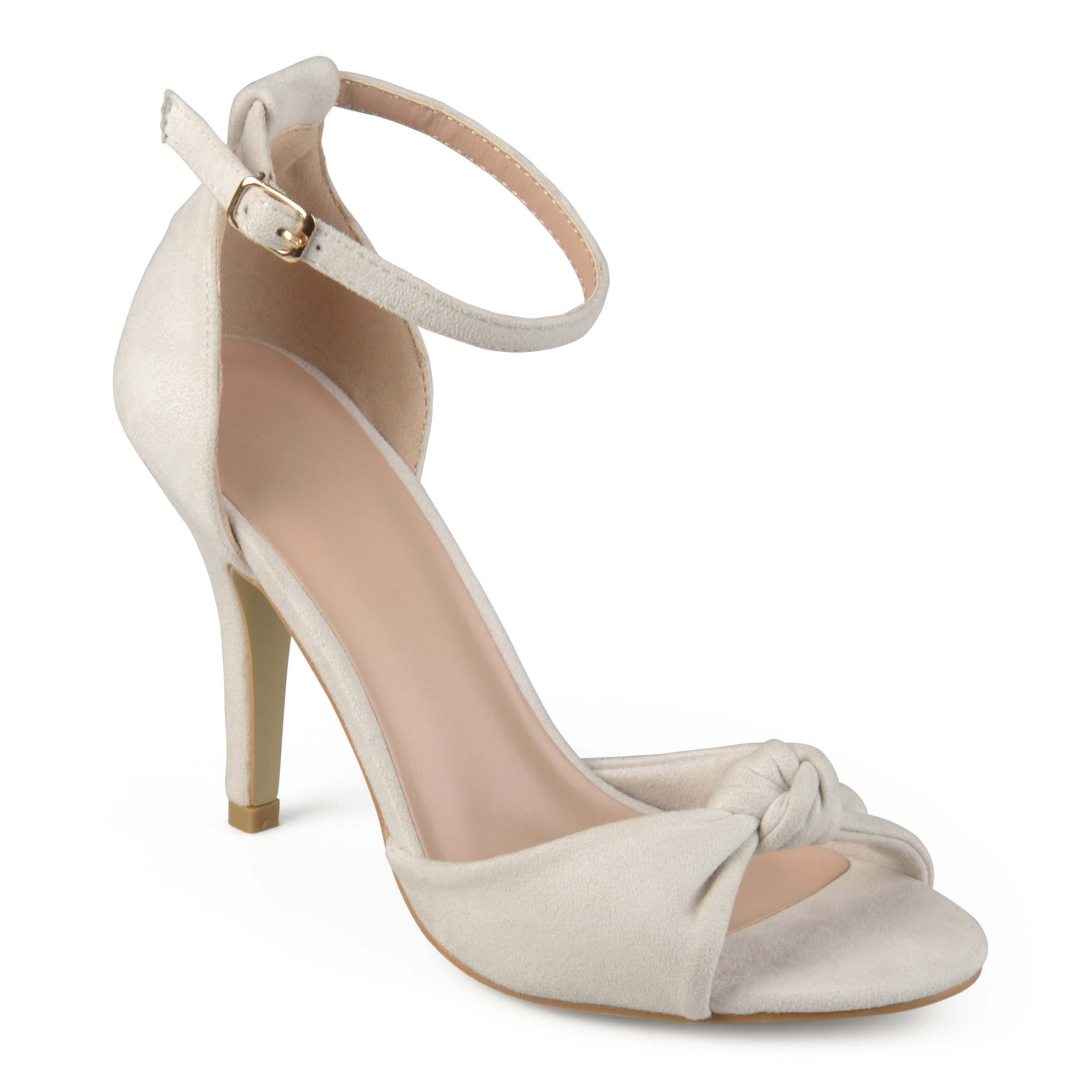 Brinley Co. Womens Faux Suede Knot Ankle Strap High Heels