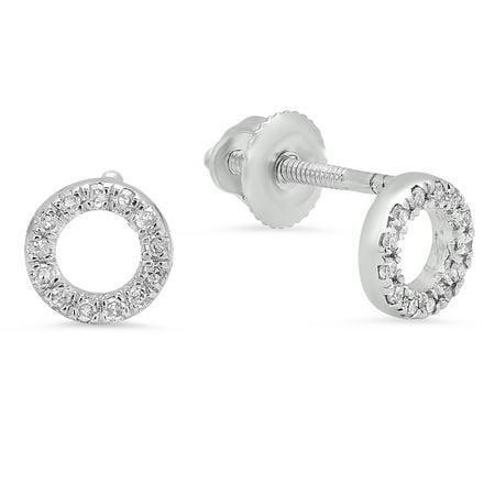 0.10 Carat (ctw) 10K White Gold Round Cut White Diamond Ladies Circle Shape Fashion Stud Earrings 1/10 - Diamond Cut Circle Earrings