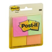 """Post-it Notes, 3"""" x 3"""", Assorted Neon Colors, 4-Pack"""