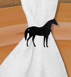 Village Wrought Iron NR-68 Standing Horse Napkin Ring - Black