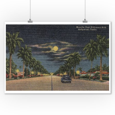 Hollywood, Florida - Moonlight View over Hollywood Blvd. - Vintage Poster (9x12 Art Print, Wall Decor Travel Poster) - Hollywood Decor