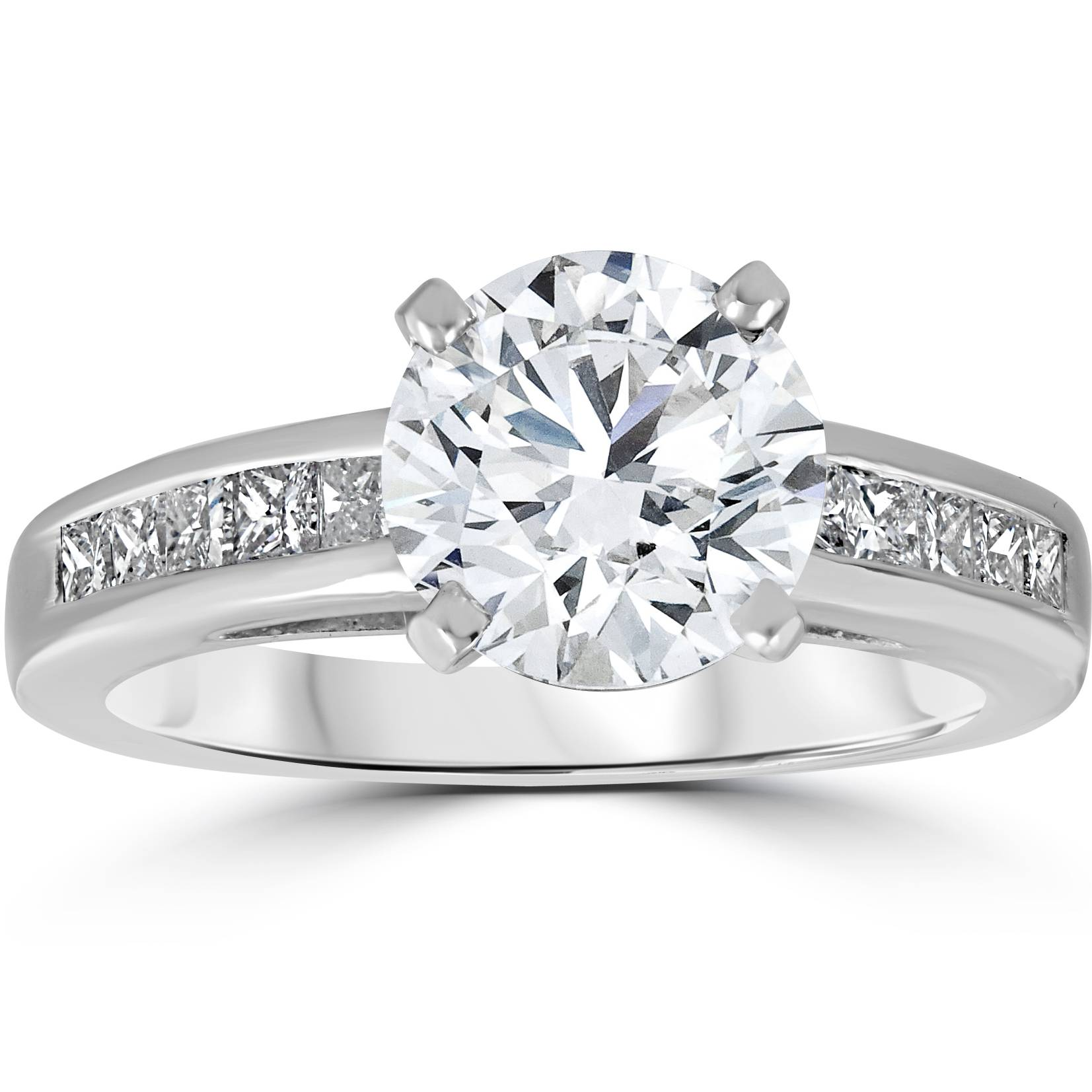 Diamond Engagement Ring 2 1 2 Carat Princess   Round Solitaire ... c87193bce337