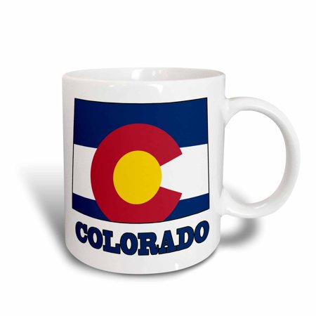 3dRose Colorado state flag in the outline map and letters of Colorado, Ceramic Mug, 11-ounce