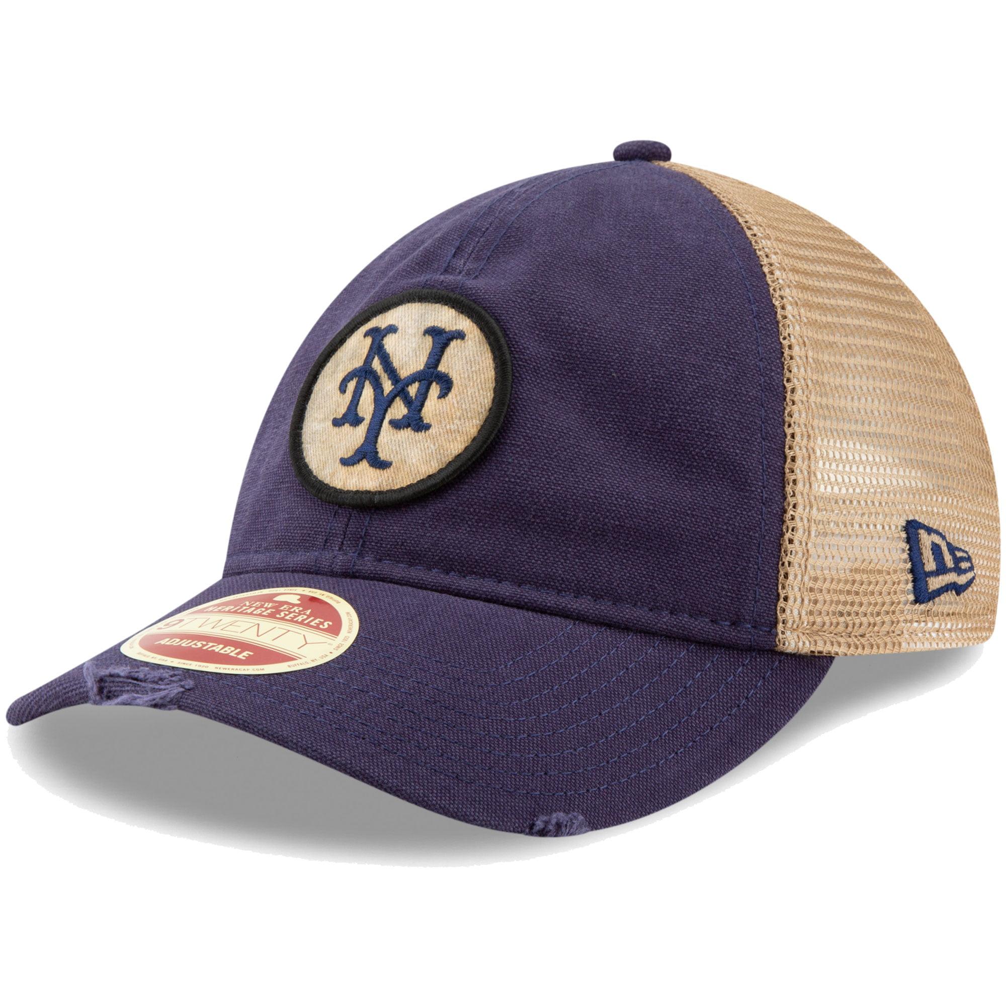 New York Mets New Era Cooperstown Collection Front Patched Trucker 9TWENTY Adjustable Hat - Navy - OSFA
