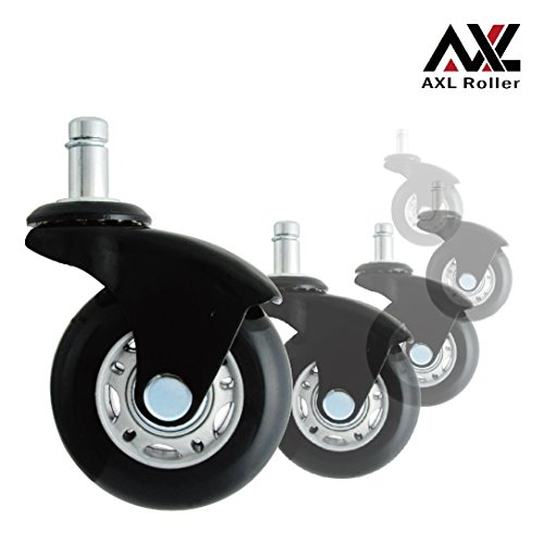 AXL Office Chair Caster Wheels Replacement Heavy Duty With Rollerblade  Style (Soft Rubber)