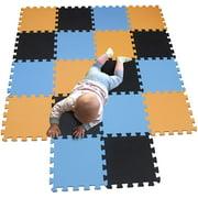 HTAIGUO Children Puzzle mat Play mat Squares Play mat Tiles Baby mats for Floor Puzzle mat Soft Play mats Girl playmat Carpet Interlocking Foam Floor mats for Baby Orange Black Blue 102104107
