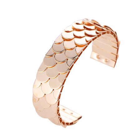 Women Retro Opening Adjustable Fish Scales Punk Style Bracelet Rose gold