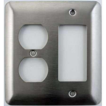 Mulberry Princess Style Satin Stainless Steel 2 Gang Switch Plate - 1 Duplex Outlet Opening 1 GFI/Rocker (North Style Outlet)