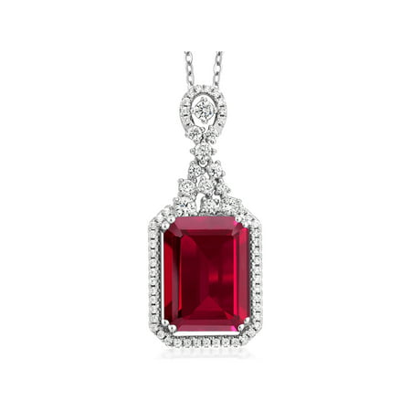 - 8.60 Ct Emerald Cut Red Created Ruby 925 Sterling Silver Pendant