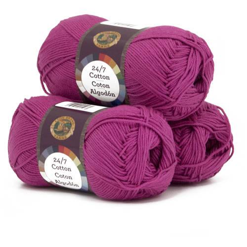 Lion Brand Yarn 24-7 Cotton Classic Yarn, Pack of 3