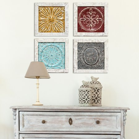 Stratton Home Decor Set of 4 Accent Tile Wall Art