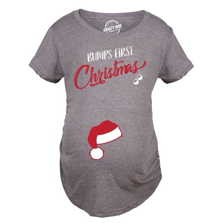 Bumps First Christmas Maternity Shirt Funny Holiday Party Tee For Pregnant Women - Pregnant Christmas Outfit