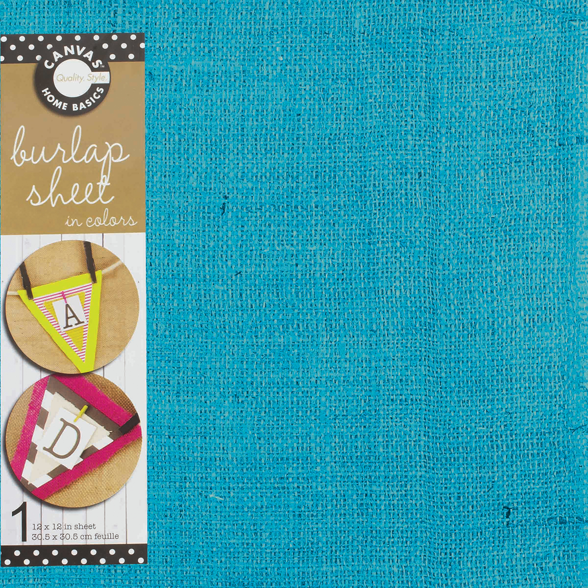 Canvas Unsewn Burlap Sheet Jute, 12-Inch by 12-Inch, Teal Multi-Colored