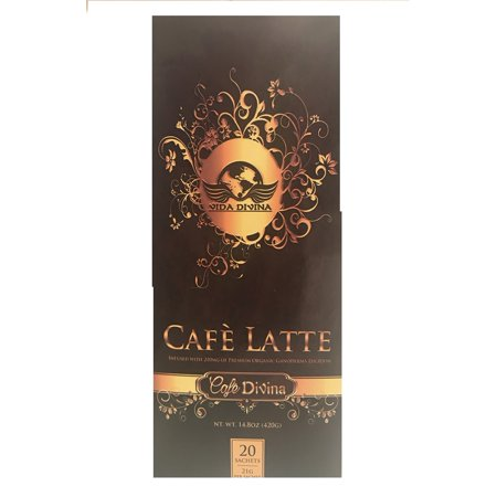 full box of Cafe Late, weight loss Coffee, infused with 210 MG of premium organic Ganoderma lucidem 20 sachets