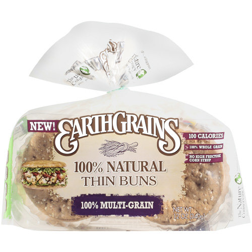 Earthgrains 100% Natural Thin Multigrain Buns, 12 oz