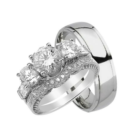 His and Hers Wedding Ring Set Matching Trio Wedding Bands for Him (Titanium) and Her (Sterling Silver)