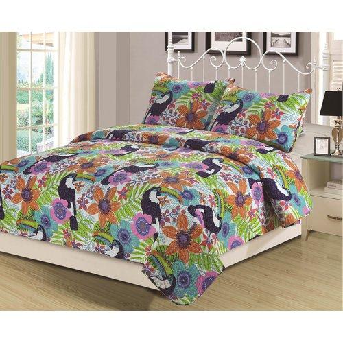 Zoomie Kids Hillyer Tropical Paradise 3 Piece Quilt Set
