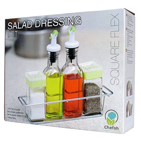 Chefoh Gl Cruet Set With Caddy Salt And Pepper Shakers Oil Vinegar