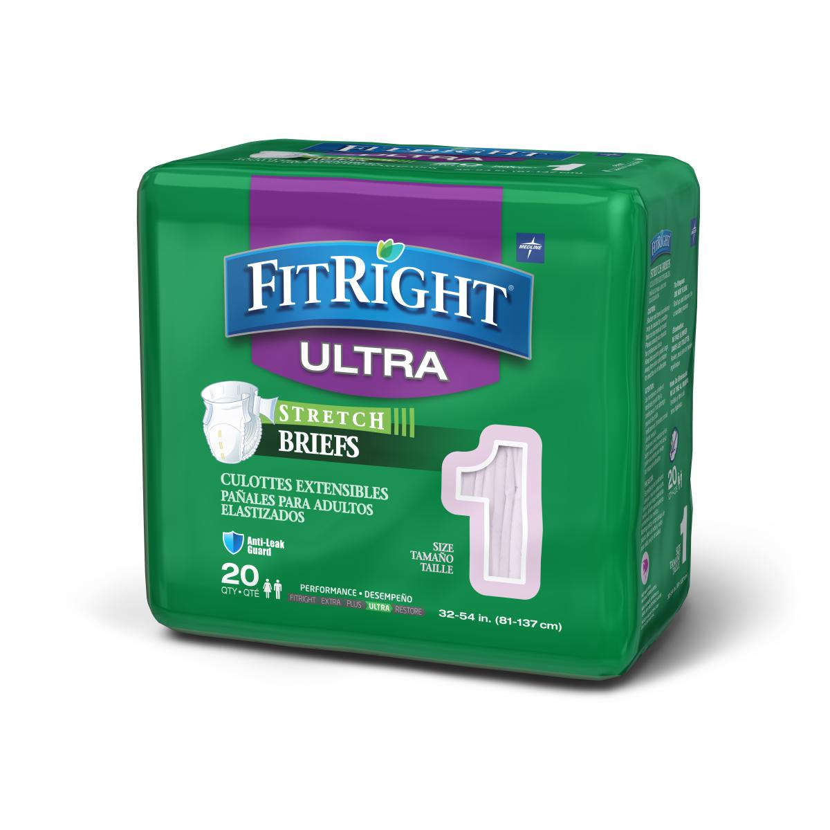 Medline FitRight Stretch Ultra Disposable Briefs 20 Count (Pack of 4)