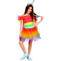 Child's Girl's Ruffled Rainbow Unicorn Costume Small 4-6