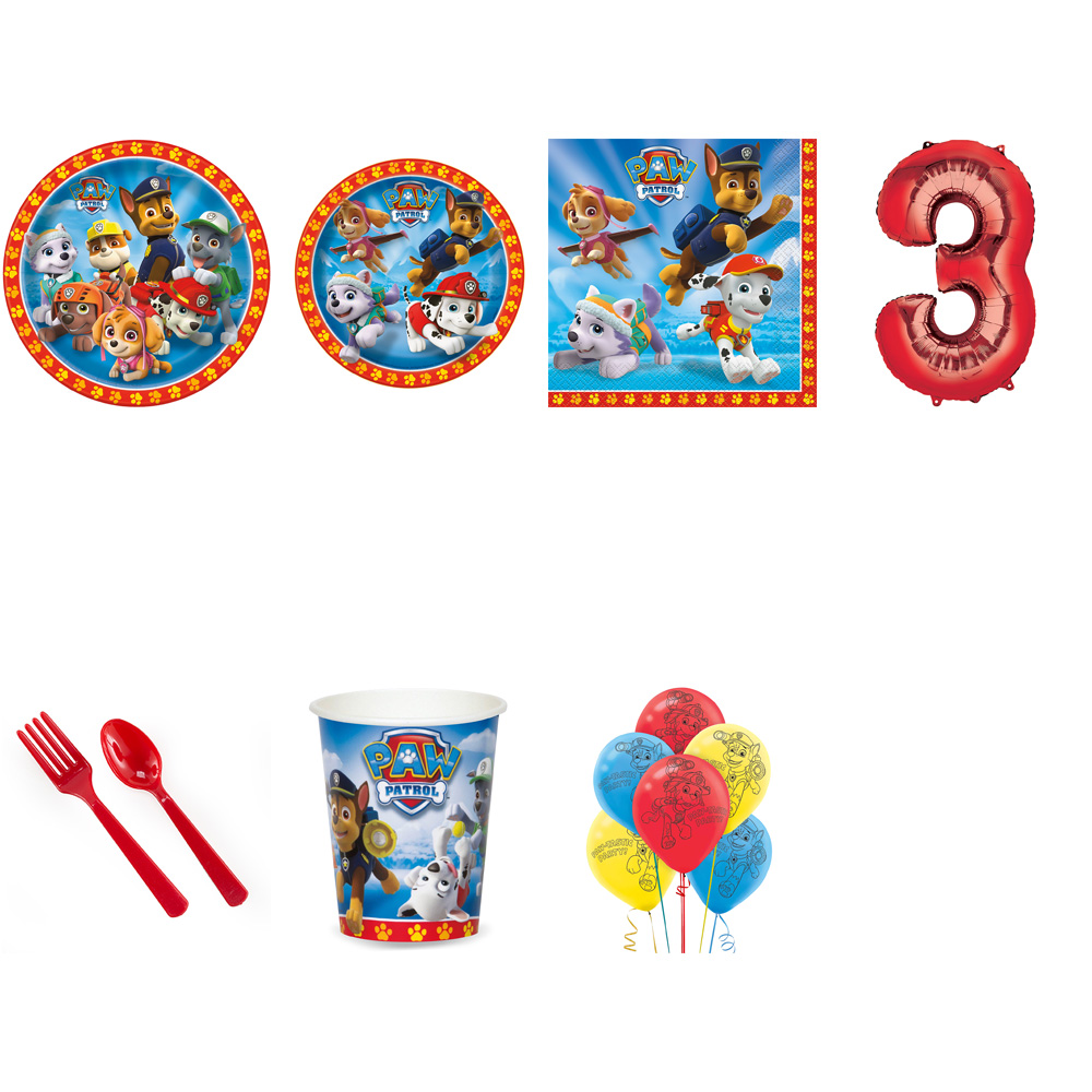 PAW PATROL PARTY SUPPLIES PARTY PACK FOR 32 WITH RED #3 BALLOON