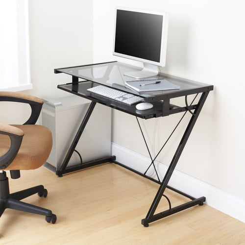 Rolling Computer Desk, Glass And Silver Colored Metal   Walmart.com