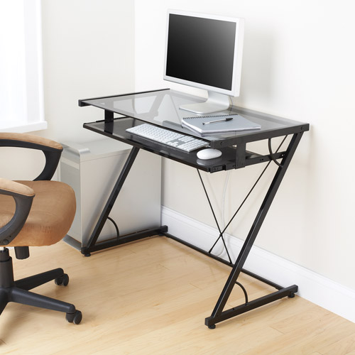 Mainstays Solar Glass-Top Desk, Black