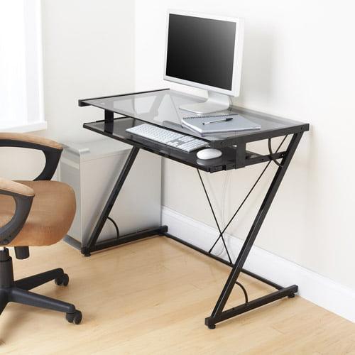 Mainstays Solar Glass Top Desk Black Walmart Com Walmart Com