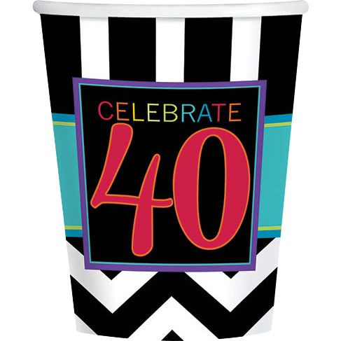 Chevron Mix 40th Birthday 9oz Cups (8 Pack) - Party Supplies