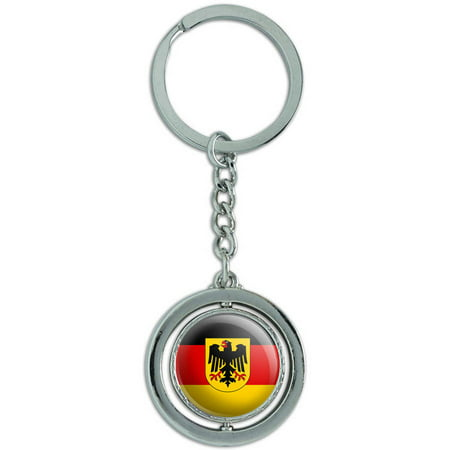 Germany With Crest National Country Flag Spinning Round Metal Key Chain Keychain Ring