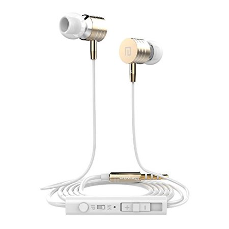 Wired In Ear Earbuds, Headphones with Microphone X3 Stereo Bass Noise Isolating 3.5mm Jack Earphones Remote Control for iPhone, Samsung, Huawei, LG, Motorola Laptop, MP3 etc (Gold)