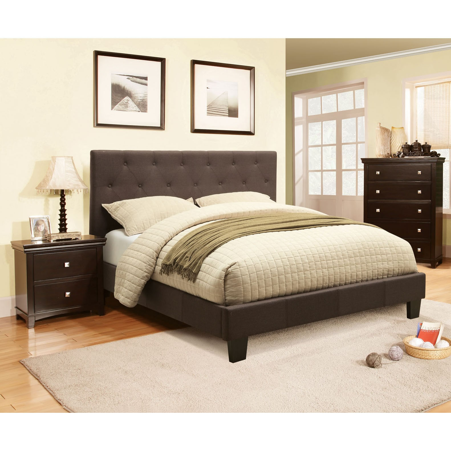 Furniture Of America Perdella Contemporary Grey Low Profile
