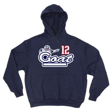 Shedd Shirts Navy Tom Brady New England Patriots  Goat  Youth Medium Hooded Sweatshirt