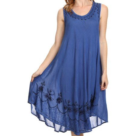 Sakkas Everyday Essentials Caftan Tank Dress / Cover Up - Blue / Black - One - Khaleesi Blue Dress Costume