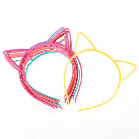 Plastic Ears For Sale (Cat Ear Headband Plastic Cat Hairband Cat Bow Hairbands Makeup Party Headwear for Women Girls, 10pcs)