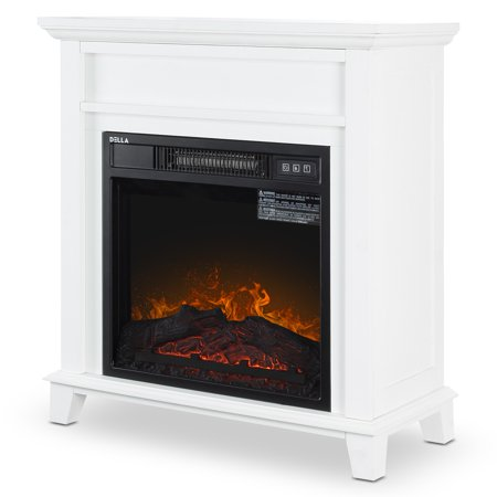 DELLA Wood Electric Fireplace Mantel Package Freestanding Heater Corner Firebox w/Log Hearth, Remote Control 1400W White