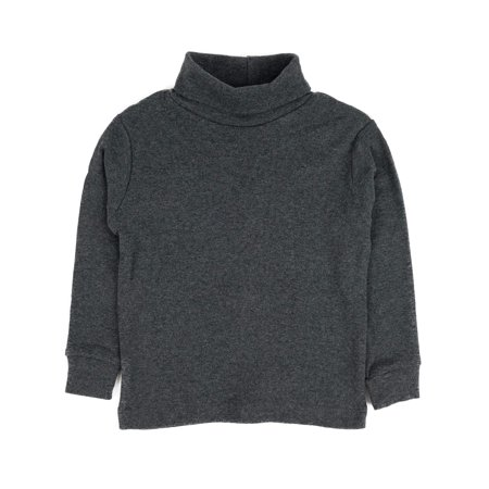 Leveret Solid Turtleneck 100% Cotton (2 Toddler, Dark Grey)